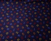 """Flannel Fabric - Bright 123 Tossed - 31"""" REMNANT - 100% Cotton Flannel"""