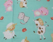 """Flannel Fabric - Happy Baby Farm Animals- 25"""" REMNANT - 100% Cotton Flannel"""