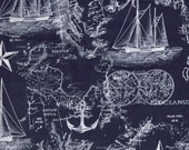 Cotton Fabric - Navy Nautical Map Blue Quilting Fabric - Select Your Size or By The Yard - 100% Cotton Fabric