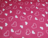 """Flannel Fabric - Scribble Hearts Hot Pink - 26"""" REMNANT - 100% Cotton Flannel"""