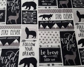 Flannel Fabric - Black White Be Brave Patch - REMNANT - 100% Cotton Flannel