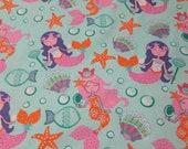 "Flannel Fabric - Pretty Mermaids - 25"" REMNANT - 100% Cotton Flannel"