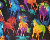 All Over Painted Colorful Rainbow Horses on Black - 100% Cotton Fabric - Select Your Size or By The Yard