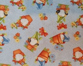Gnome Is Where The Garden Grows, Garden Gnomes Tossed on Light Blue Quilt Cotton - Select Your Size or By The Yard - 100% Cotton Fabric