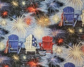 Patriotic Chair Scene by Susan Winget - Adirondack Chairs, Fireworks, USA Flag Quilt Cotton -Select Size or By The Yard - 100% Cotton Fabric