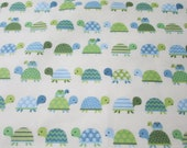 Flannel Fabric - Turtle Parade - REMNANT - 100% Cotton Flannel
