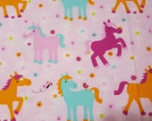 Flannel Fabric - Ponies and Flowers - REMNANT - 100% Cotton Flannel