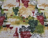 """Flannel Fabric - Wine Country - 20"""" REMNANT - 100% Cotton Flannel"""