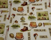 """Flannel Fabric - Fishing Bag and Net - 27"""" REMNANT - 100% Cotton Flannel"""
