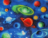 Planets Bright Space Blue - 100% Cotton Fabric - Select Your Size or By The Yard - Quilting Cotton for Sewing and Craft Projects