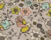 "Flannel Fabric - Bird Sketch - 31"" REMNANT - 100% Cotton Flannel"