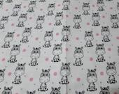 "Flannel Fabric - Polka Dot Zebras White - 20"" REMNANT - 100% Cotton Flannel"