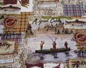 Flannel Fabric - Fishing Patchwork - REMNANT - 100% Cotton Flannel