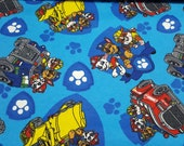 Character Flannel Fabric - Paw Patrol Rev Up - REMNANT - 100% Cotton Flannel