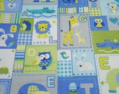 """Flannel Fabric - Baby Animal Patch Blue - 23"""" REMNANT - 100% Cotton Flannel"""