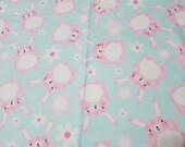 Flannel Fabric - Pink Gingham Bunnies - REMNANT - 100% Cotton Flannel