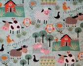 Cotton Fabric - Life On The Farm Animals Quilt Cotton Fabric - Select Your Size or By The Yard - 100% Cotton Fabric