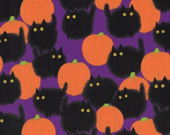 Belinda's Big Kitty with Pumpkins by Alexander Henry on Purple Halloween Quilting Fabric - 100% Cotton Fabric - Select Size or By The Yard