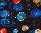Cotton Fabric - Planets in Space on Black Quilting Fabric - Select Your Size or By The Yard - 100% Cotton Fabric