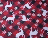 Christmas Flannel Fabric - Deer and Flakes Plaid- REMNANT - 100% Cotton Flannel