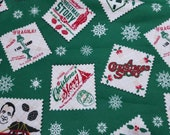 Christmas Character Flannel Fabric - A Christmas Story Stamp - REMNANT (select size) - 100% Cotton Flannel