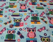 Flannel Fabric - Night Owl Glow in the Dark - REMNANT - 100% Cotton Flannel