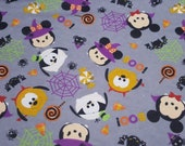 """Flannel Fabric - Tsum Tsum Specstackular Halloween - 19"""" REMNANT - 100% Cotton Flannel"""