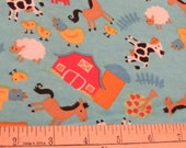 Flannel Fabric - Farm Animals on Turquoise - REMNANT - 100% Cotton Flannel