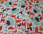 """Flannel Fabric - Dotty Jungle on White - 28"""" REMNANT - 100% Cotton Flannel"""