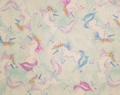 Sketched Unicorn on Blue - 100% Cotton Fabric - Select Your Size or By The Yard