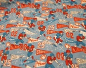 """Flannel Fabric - Vintage Football - 29"""" REMNANT - 100% Cotton Flannel"""