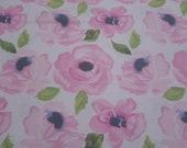 """Flannel Fabric - Hazel Watercolor Floral - 20"""" REMNANT - 100% Cotton Flannel"""