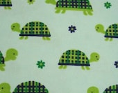 Flannel Fabric - Turtles Blue - REMNANT - 100% Cotton Flannel