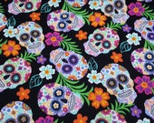 FLANNEL FABRIC - Floral Skeleton Tossed Halloween & Day Of The Dead  - REMNANT - 100% Cotton Flannel