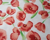 """Flannel Fabric - Red Tulips - 21"""" REMNANT - 100% Cotton"""