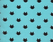Cotton Fabric - Meow Kitty Cat Dots Turquoise Quilt Cotton- Select Your Size or By The Yard - 100% Cotton Fabric