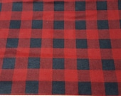 Flannel Fabric - Red Black Buffalo Check - REMNANTS - 100% Cotton Flannel