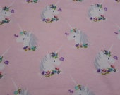 """Flannel Fabric - I Believe In Unicorns on Pink - 61"""" REMNANT - 100% Cotton Flannel"""