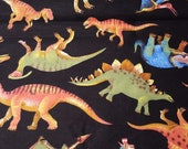 Flannel Fabric - Real Dinos on Black - REMNANT - 100% Cotton Flannel