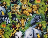 Animal and Wildlife - A Rare Occasion - Elephant, Zebra, Panda, Giraffe, Tiger, Koala - 100% Cotton Fabric - Select Your Size or By The Yard
