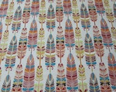 """Flannel Fabric - Southwestern Feather - 23"""" REMNANT - 100% Cotton Flannel"""