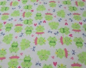 """Flannel Fabric - Prince and Princess Frogs- 29"""" REMNANT - 100% Cotton Flannel"""