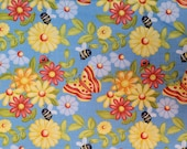 Gnome Is Where The Garden Grows - Butterflies, Bees, Ladybugs, Flowers on Blue - Select Your Size or By The Yard - 100% Cotton Fabric