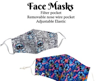 Face Mask Stitch 626 Filter Pocket Nose Wire Reusable Washable Adjustable Ear Loops Breathable 100% Cotton Fabric Adult