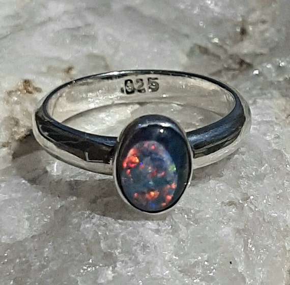 Sterling Silver Ring Sz 6.0 U.S Ethiopian  Black Opal Ring Red Flash  1.4 Cts Well Made Ring  Black With Red Flash  Nickle Free