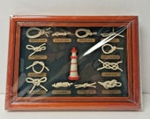 Vintage Nautical Sailor Types of Knots Lighthouse Framed Display NEW