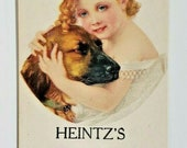 1910 -20 39 s Vintage Heintz Shoes Adv Shoe Store Tag W Victorian Girl Dog (B5)