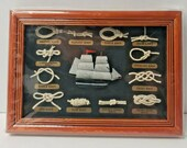 Vintage Nautical Sailor Types of Knots Blue White Ship Framed Display NEW