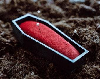 Coffin pincushion, Gothic pin box, Halloween gift, Casket cushion box