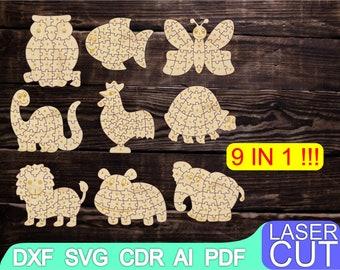 9 in 1  Wooden Alphabet Puzzle  Laser cut files SVG DXF CDR vector plans, cnc pattern, cnc cut, Glowforge laser laser cut